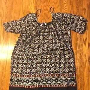 Women's patterned open shoulder dress